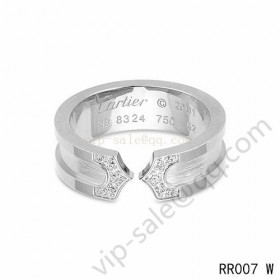 Cartier double c wedding band ring in white gold with diamonds
