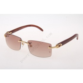 2016 Cartier 3524012 Wood Big Lens Sunglasses, Gold Brown