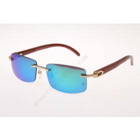 2016 Cartier 3524012 Wood Big Lens Sunglasses, Gold with Blue Flash Lens