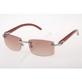2016 Cartier 3524012 Wood Big Lens Sunglasses, Silver Brown