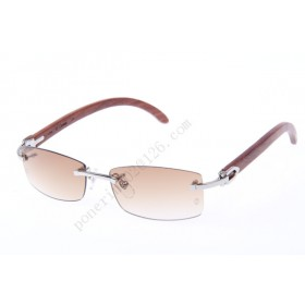2016 Cartier 3524012 Wood Sunglasses, Silver Brown