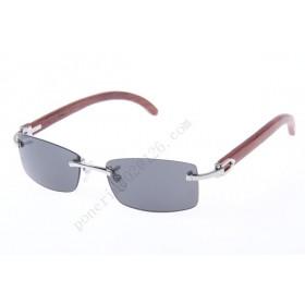 2016 Cartier 3524012 Wood Sunglasses, Silver Gray