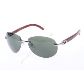 2016 Cartier 3524016 Wood Sunglasses, Silver Grey Gradient