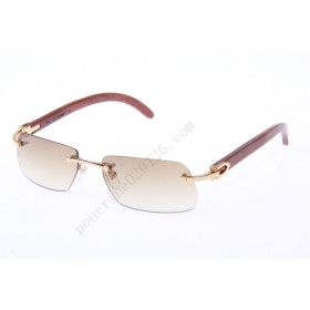 2016 Cartier 4189706 Wood Sunglasses, Gold Brown