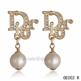 DIOR OBLIQUE Earring in the yollow gold with Silver resin beads pendants