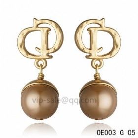 DIOR OBLIQUE Double D Earring in the yollow gold with Copper resin beads pendants
