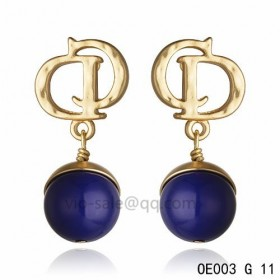 DIOR OBLIQUE Double D Earring in the yollow gold with Deep Purple resin beads pendants