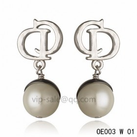 DIOR OBLIQUE Double D Earring in the white gold with Silver resin beads pendants