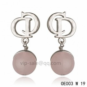 DIOR OBLIQUE Double D Earring in the white gold with Silver gray resin beads pendants