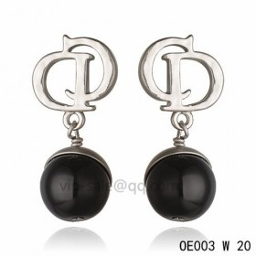 DIOR OBLIQUE Double D Earring in the white gold with Black resin beads pendants