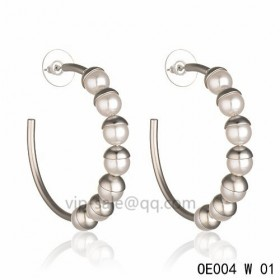 MISE EN DIOR Hoops Earring in the cream resin beads accentuated with white gold-plated cups