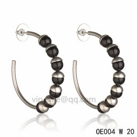 MISE EN DIOR Hoops Earring in the black resin beads accentuated with white gold-plated cups