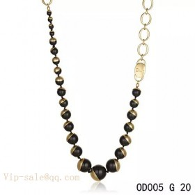 """Black Pearls """"MISE EN DIOR"""" long necklace in yellow gold"""