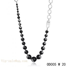 """Black Pearls """"MISE EN DIOR"""" long necklace in white gold"""