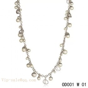 """White Pearls """"MISE EN DIOR"""" necklace in white gold"""