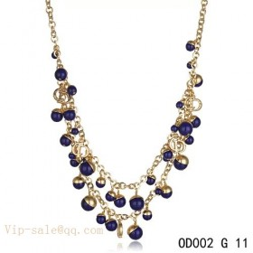 """Purple Pearls """"MISE EN DIOR"""" necklace in yellow gold"""