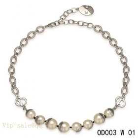 """White Pearls """"MISE EN DIOR"""" short necklace in white gold"""