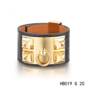Hermes Collier de Chien iconic black alligator leather bracelet in yellow gold