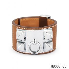 Hermes Collier de Chien iconic light brown epsom calfskin leather bracelet in white gold