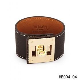 Hermes Kelly Dog dark brown epsom calfskin leather bracelet in yellow gold