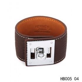 Hermes Kelly Dog dark brown Epsom calfskin leather bracelet in white gold