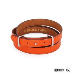 Hermes Behapi Double Tour orange epsom calfskin leather bracelet in white gold