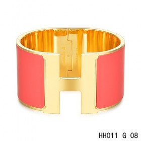 Hermes Clic H Extra-Large Bracelet / red enamel / yellow gold