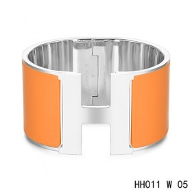 Hermes Clic H Extra-Large Bracelet / orange enamel / white gold