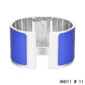Hermes Clic H Extra-Large Bracelet / deep blue enamel / white gold