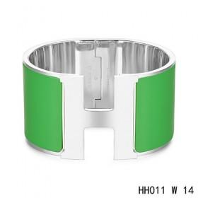 Hermes Clic H Extra-Large Bracelet / green enamel / white gold