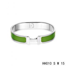 Hermes Clic H narrow Bracelet / enamel pine green / white gold