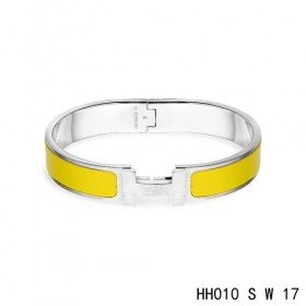 Hermes Clic H narrow Bracelet / enamel saffron yellow / white gold