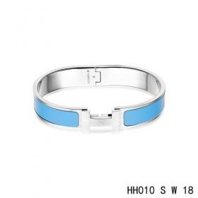 Hermes Clic H narrow Bracelet / enamel transat blue / white gold