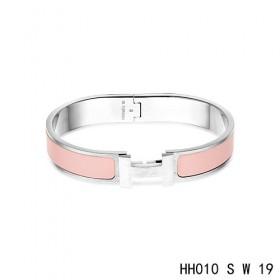 Hermes Clic H narrow Bracelet / enamel salmon pink / white gold