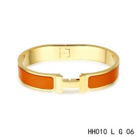 Hermes Clic H narrow Bracelet / enamel orange / yellow gold