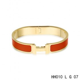 Hermes Clic H narrow Bracelet / enamel red / yellow gold