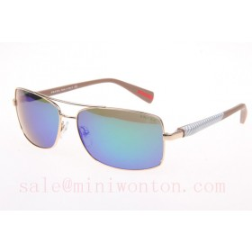 Prada SPS50OS Sunglasses In Gold Green Lens