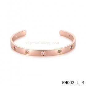 Cartier Open Love Bracelet in pink gold with colroed stones