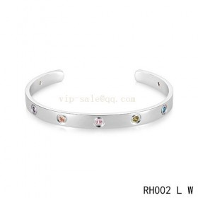 Cartier Love Open Bracelet in white gold with colroed stones