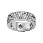 Replica Cartier diamond LOVE ring in white gold for sale