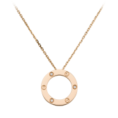 Replica Cartier LOVE diamond necklace with 3 diamonds pink gold pendant