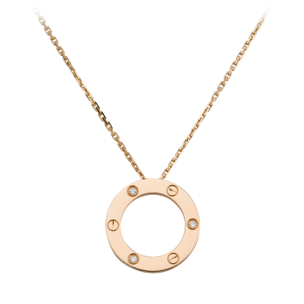 Réplique collier LOVE Cartier de diamant avec 3 diamants pendentif en or rose