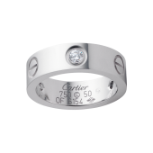 AAA Grade Cartier LOVE ring white gold copy with 3 diamonds