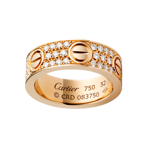 Cartier LOVE ring replica pink gold with paved diamonds