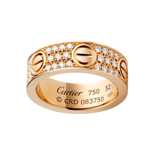 92c07e3c128 Anel LOVE Cartier ouro rosa com diamantes pavimentadas