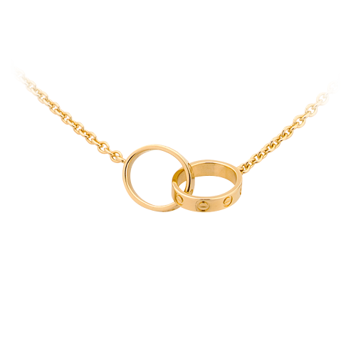 Fake Cartier LOVE chain necklace yellow gold with 2 rings pendant
