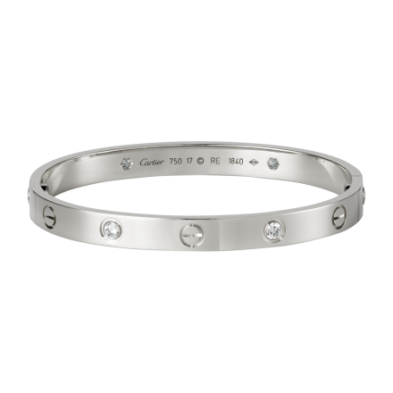 Best Brazalete LOVE Cartier replica oro blanco con 4 diamantes y destornillador