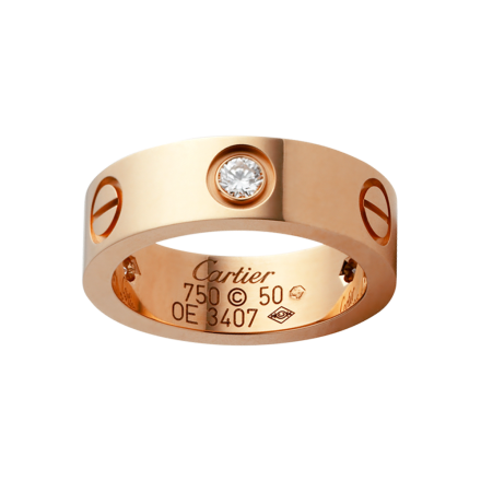 AAA qualité bague LOVE Cartier réplique 3 diamants en or rose