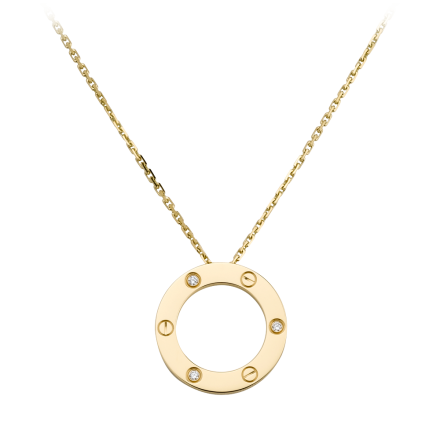 Knockoff Collier LOVE Cartier réplique avec 3 diamants Pendentif en or jaune
