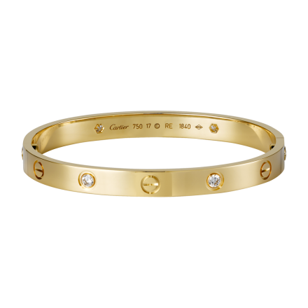 Cartier Love Bracelet Replique en or jaune avec 4 diamants à vendre